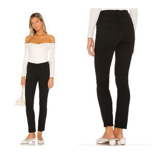 MOTHER The Mid Rise Dazzler Ankle Jeans Black